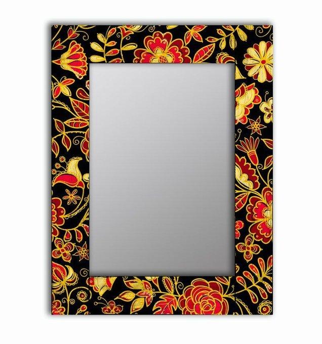 Настенное зеркало Цветочная поляна в раме из массива сосны 75х110