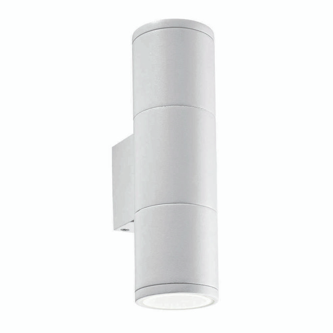 Уличный настенный светильник Gun Small Bianco белого цвета