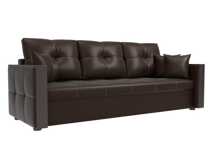 Прямой диван-кровать Валенсия коричневого цвета (экокожа)