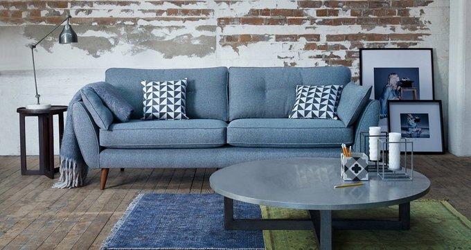 Прямой трехместный диван Элдон серого цвета
