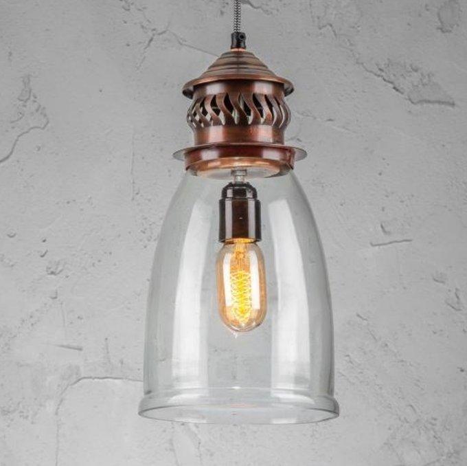 Светильник подвесной из металла и стека