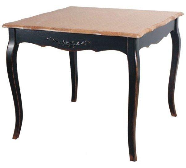 Обеденный стол из массива с фигурным патинированным основанием
