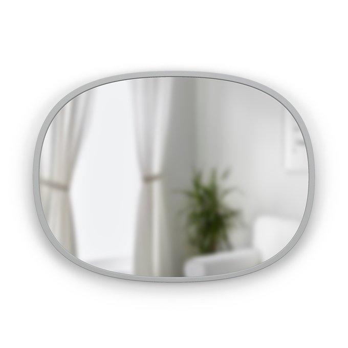 Настенное зеркало овальное Hub в раме серого цвета
