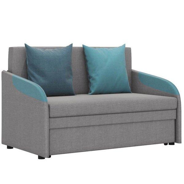 Диван-кровать Громит М в обивке из велюра серого цвета и синими подлокотниками