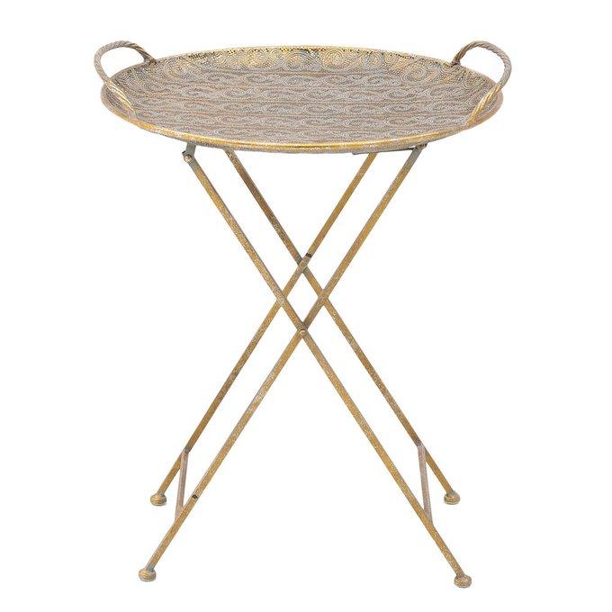 Кофейный столик-поднос из металла золотого цвета