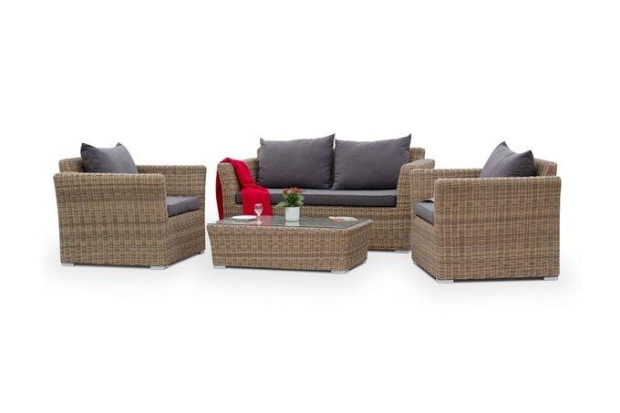 Плетеное кресло Капучино с подушками