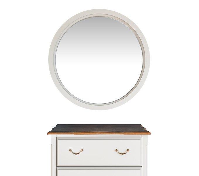 Зеркало круглое Leontina белого цвета