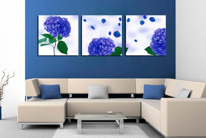 Модульная картина на холсте: Голубая гортензия