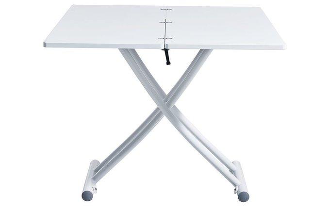 Обеденный стол-транформер белого цвета