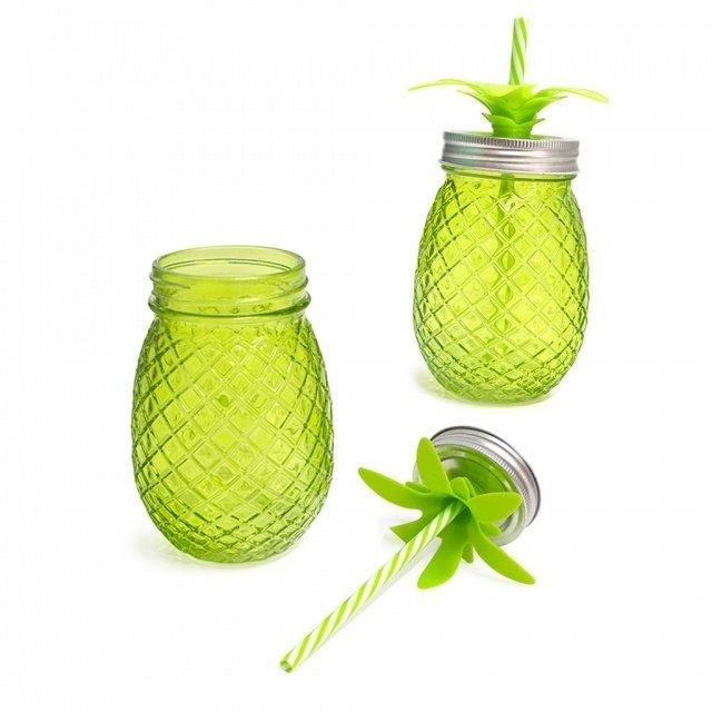 Набор стаканов с крышкой и трубочкой Tropico зеленого цвета