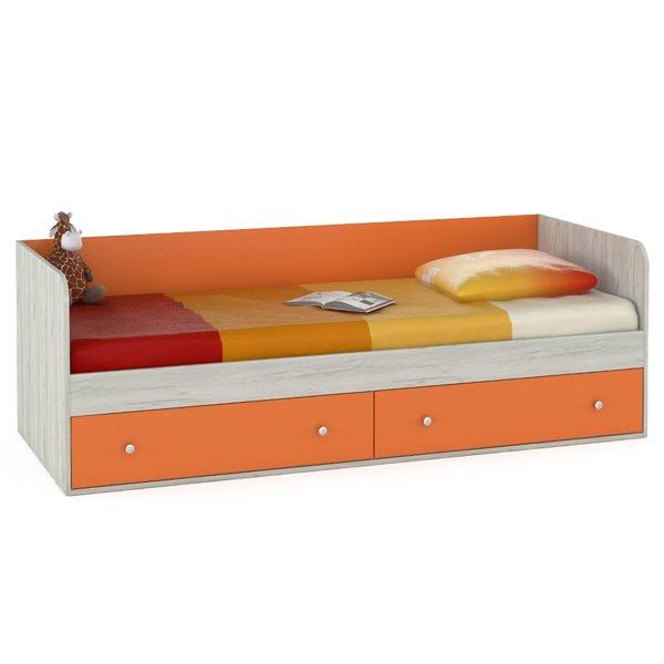Кровать Тетрис  ящиками оранжевого цвета