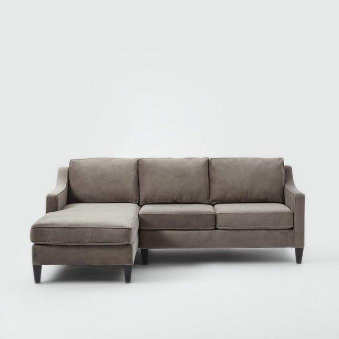 Трехместный диван Грегори премиум серо-коричневого цвета