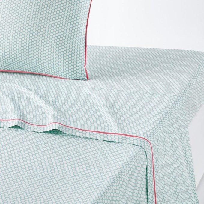 Простынь Duo из перкаля бирюзово-белого цвета 240x290