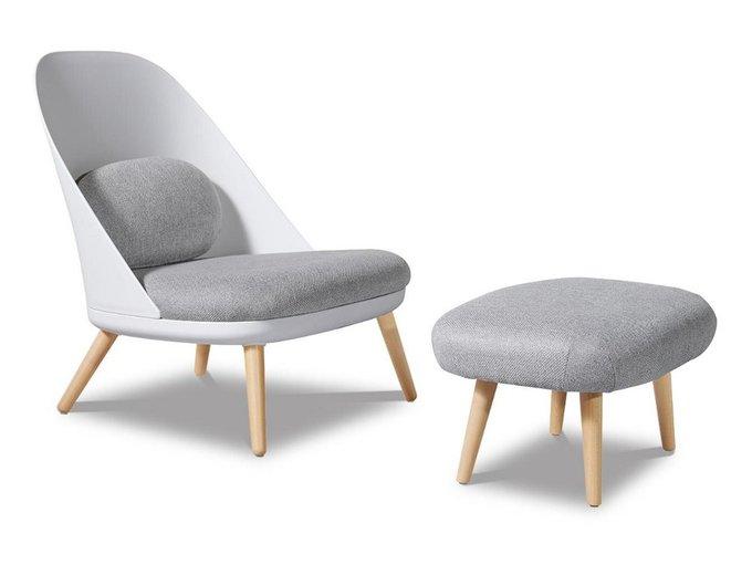 Комплект из кресла и серого пуфика