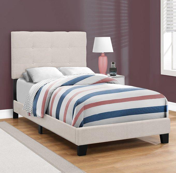 Кровать Beige Linen бежевого цвета 90х200