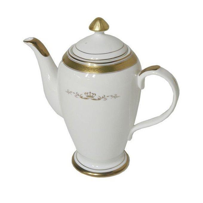 Чайник из фарфора Van Roon Golden Empire с золотым орнаментом