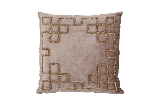 Подушка с бисером Геометрия бежевого цвета