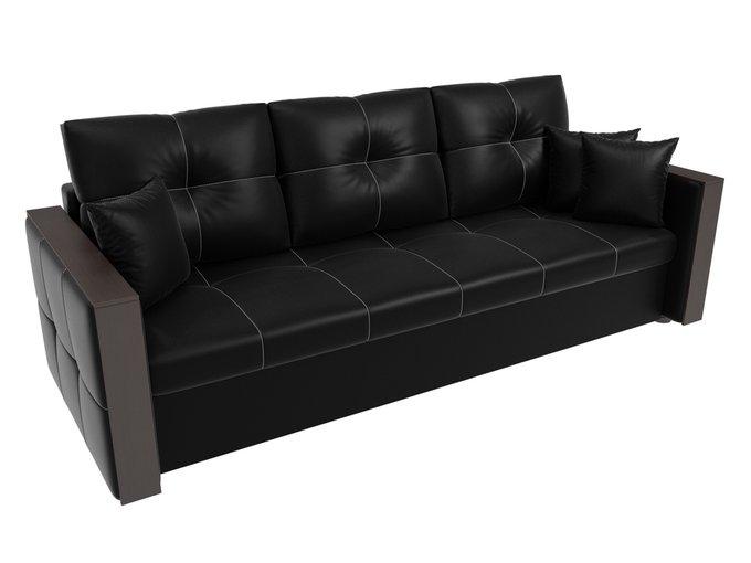 Прямой диван-кровать Валенсия черного цвета (экокожа)