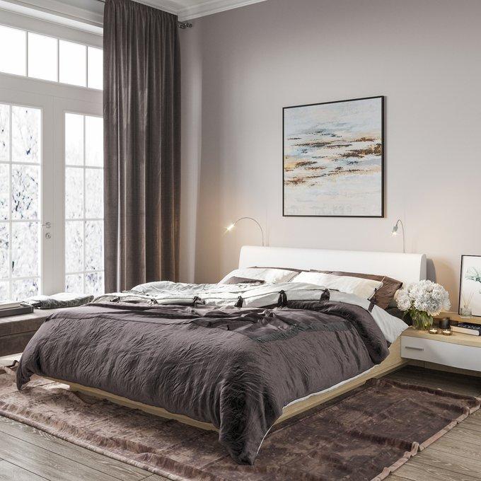 Кровать Элеонора 180х200 с изголовьем белого цвета и двумя светильниками