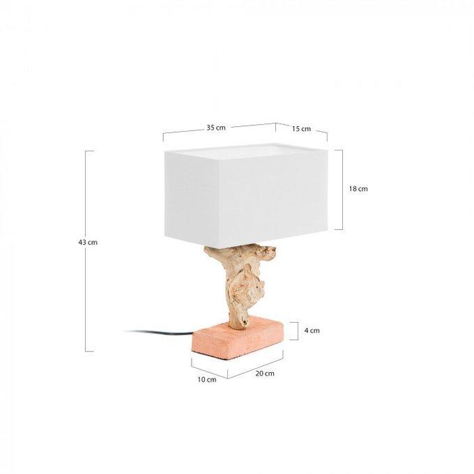 Настольная лампа Petro из дерева и кирпича