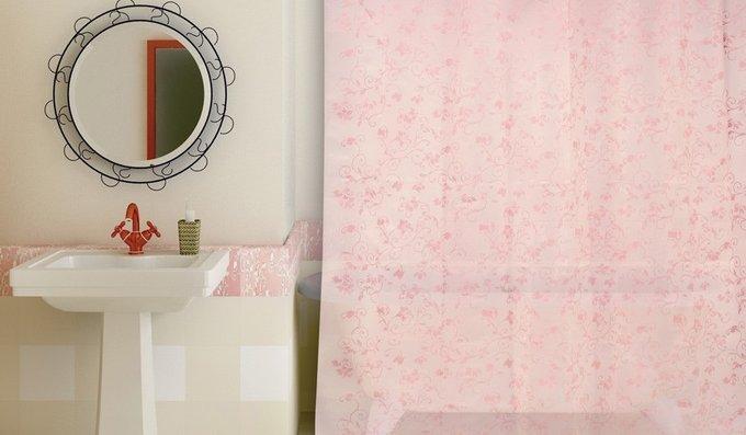 Занавеска (штора) из пластика для ванной комнаты Rattan pink WESS