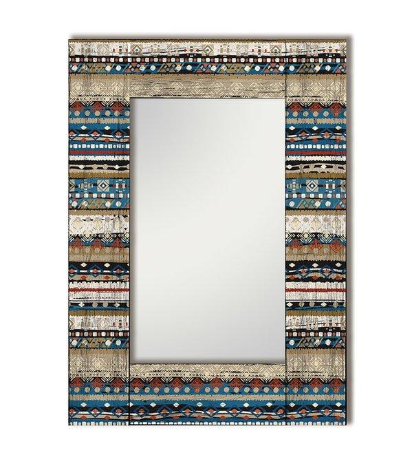 Настенное зеркало Финистер с сине-бежевым узором 55х55