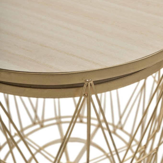 Набор из двух журнальных столиков-корзин бежево-золотого цвета