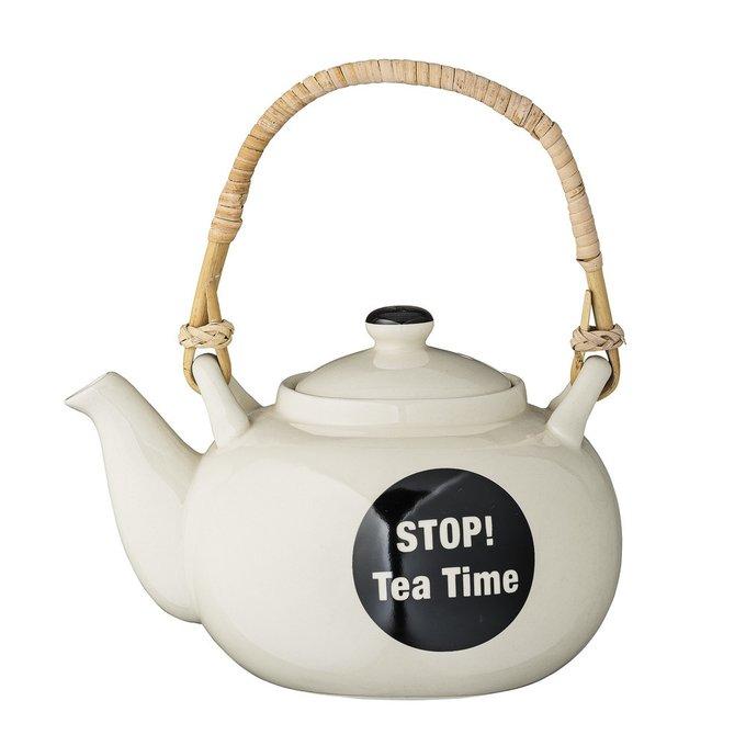 Заварник Stop! Tea Time цвета слоновой кости