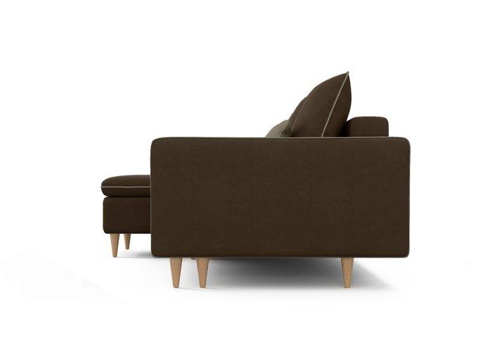 Угловой диван-кровать левый Ron темно-коричневого цвета