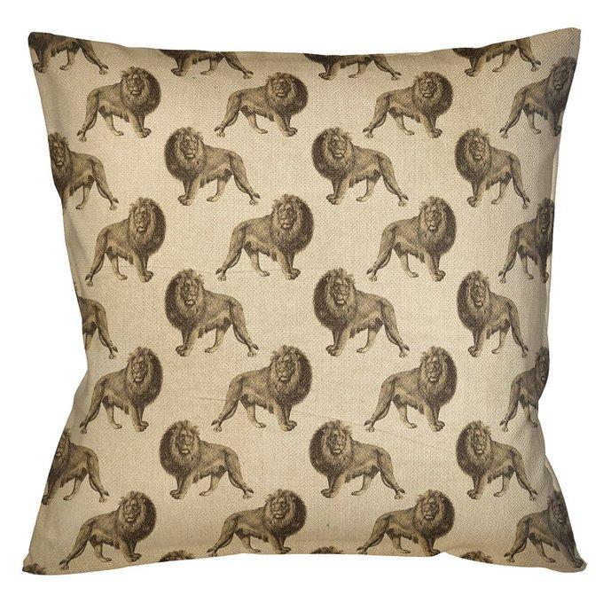 Интерьерная подушка Группа львов в бежевом 45х45