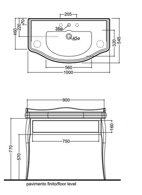 Деревянная консоль Retro с керамической раковиной