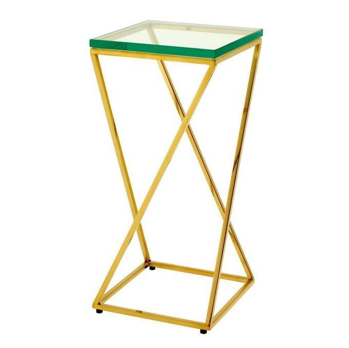 Приставной столик Clarion золотого цвета со стеклянной столешницей