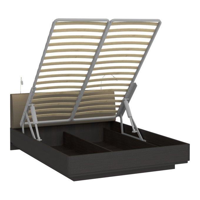 Кровать Элеонора 160х200 с изголовьем серого цвета и двумя светильниками