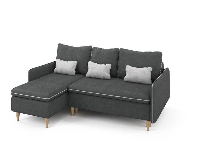 Угловой раскладной диван Ron левый темно-серого цвета
