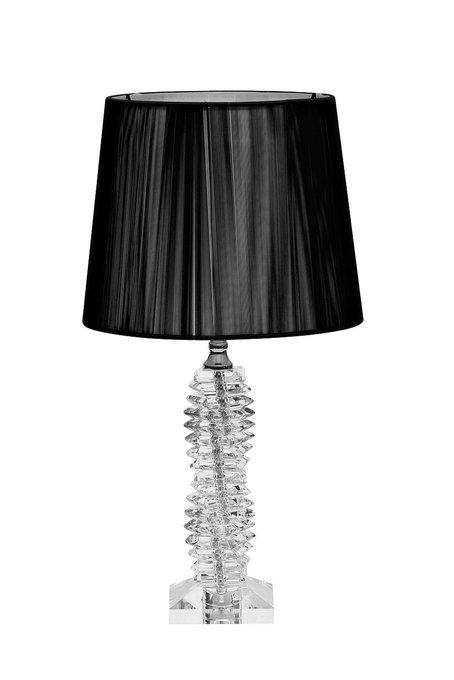 Настольная стеклянная лампа с черным абажуром