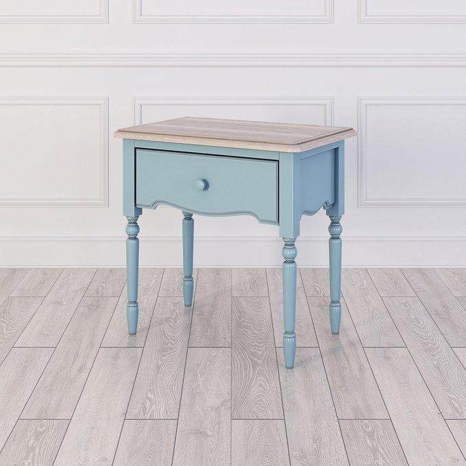 Прикроватная голубая тумба Leblanc с ящиком
