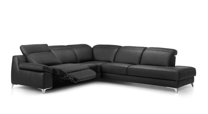Угловой кожаный диван с реклайнером Levana черного цвета