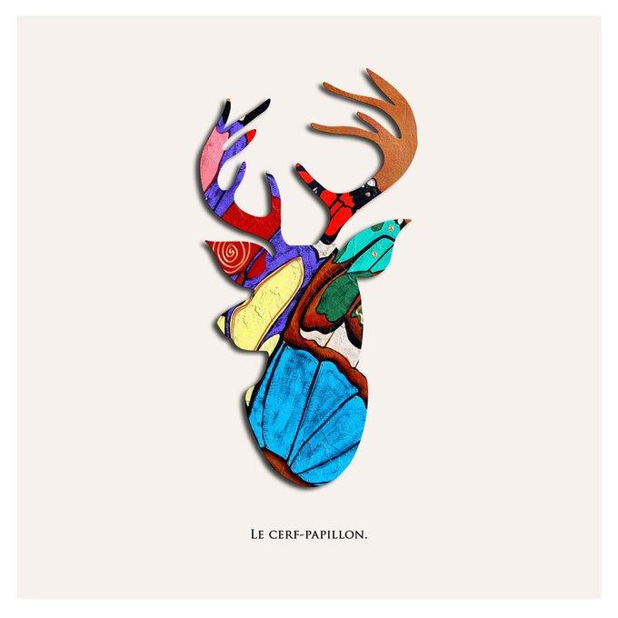 Картина (репродукция, постер): Олень бабочка