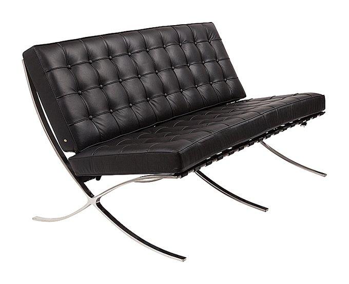 Двухместный диван Barcelona чёрного цвета