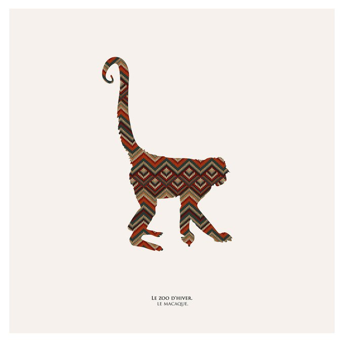 Картина (репродукция, постер): Зимний зоопарк, макака