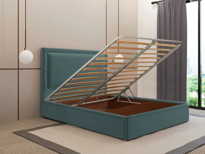 Кровать Юнит 120х200 тёмно-бирюзового цвета с подъемным механизмом
