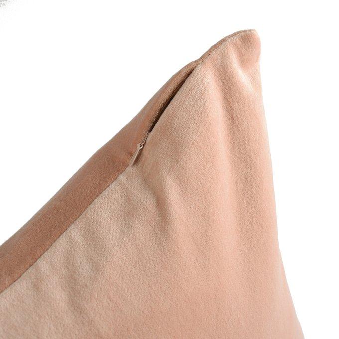 Подушка декоративная Essential из хлопкового бархата цвета пыльной розы