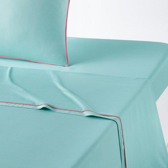 Простынь Duo из перкаля бирюзового цвета 270x290