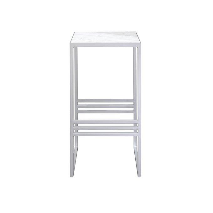Прикроватный столик серебристого цвета с мраморной столешницей
