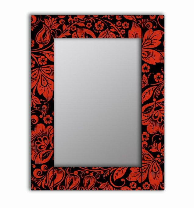 Настенное зеркало Красные цветы в раме из массива сосны 80х80