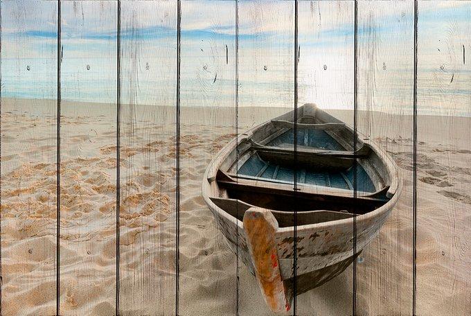 Картина на дереве Лодка на берегу