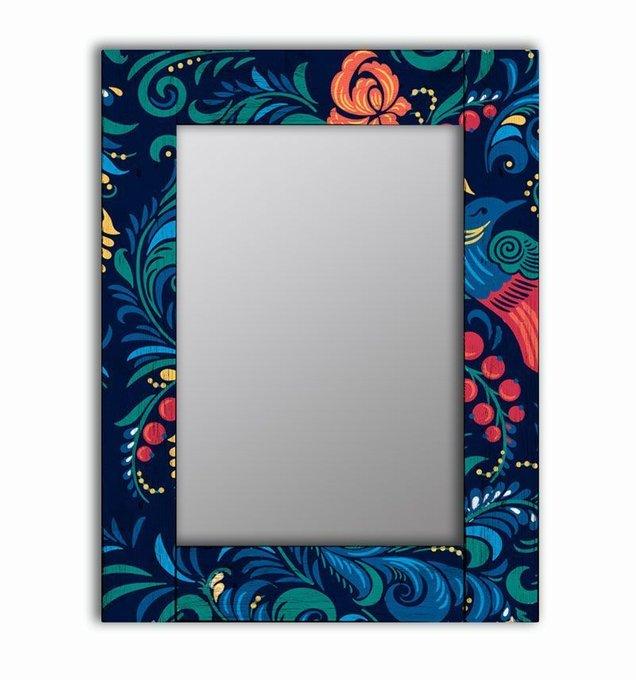 Настенное зеркало Синяя Жар-птица в раме из массива сосны 80х80