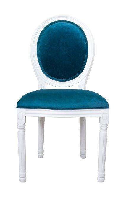 Стул Volker blue+white с велюровой обивкой