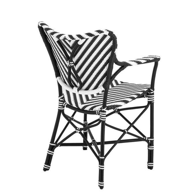 Кресло Eichholtz Rattan Chair Colony с черно-белым орнаментом