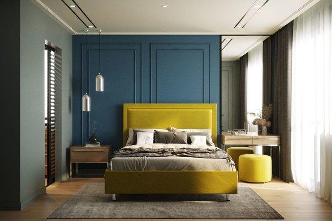 Кровать Юнит 160х200 тёмно-синего цвета